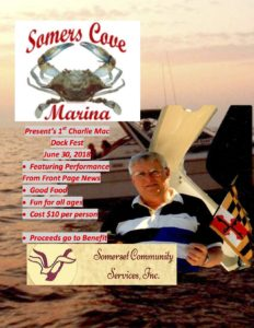 Charlie Mac Dock Fest 2018 Flyer at Somers Cove Marina Crisfield