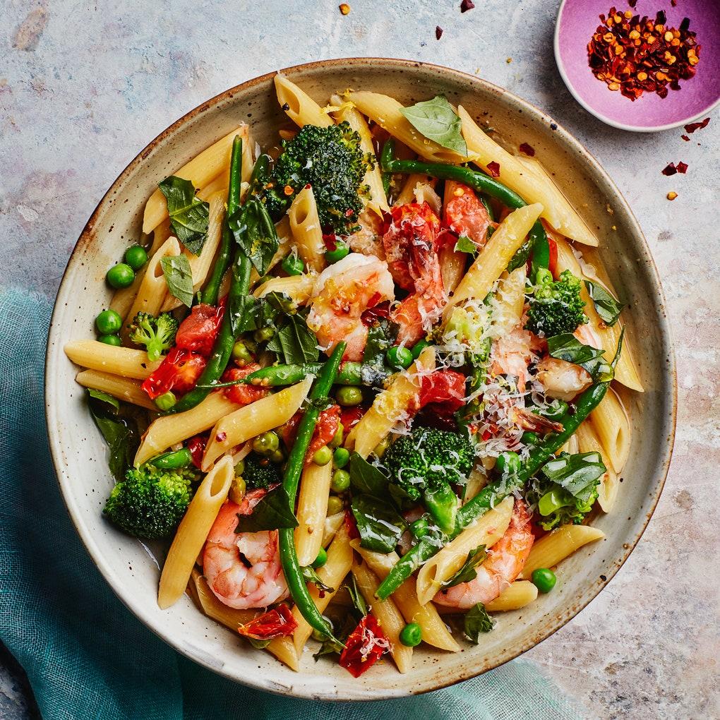 One-Pot Pasta Primavera with Shrimp via https://www.epicurious.com/recipes-menus/one-pot-fish-seafood-dinners-friday-recipes-gallery | Fish Recipes | Snag-A-Slip