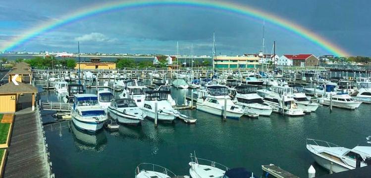 Golden Nugget Marina Docks with rainbow | New Marinas Added in April | Snag-A-Slip