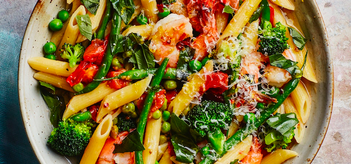 One-Pot Pasta Primavera with Shrimp via https://www.epicurious.com/recipes-menus/one-pot-fish-seafood-dinners-friday-recipes-gallery | Fish Recipes | Snag-A-Slip