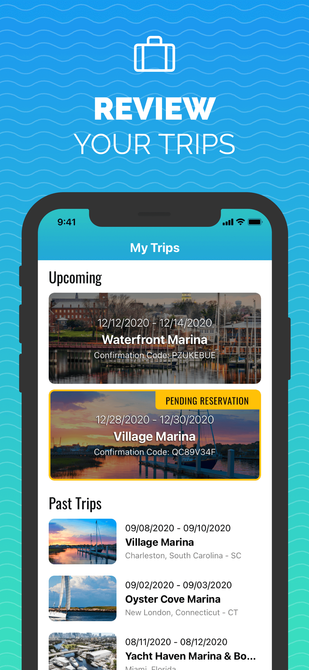 Trips View - Snag-A-Slip 2.0 - Mobile App - Updates - Book Boat Slips